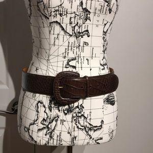 "Waist Belt Italian Leather Sz M Red/Brown Wide 2"""